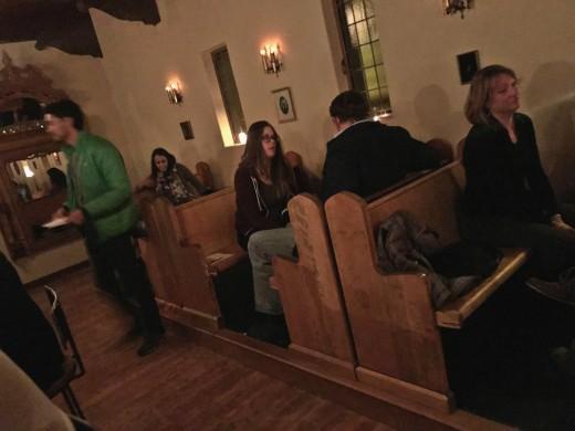 Church pews at the Owls Club, in Tucson